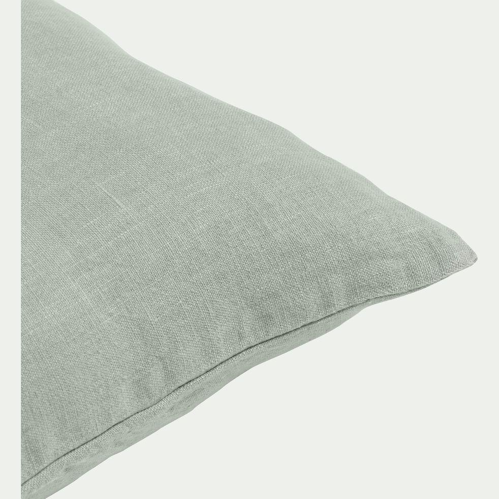 Coussin en lin lavé - vert olivier 45x45cm-VENCE