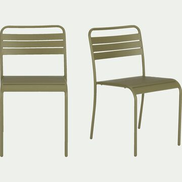 Chaise de jardin empilable en acier vert kaki-SOURIS