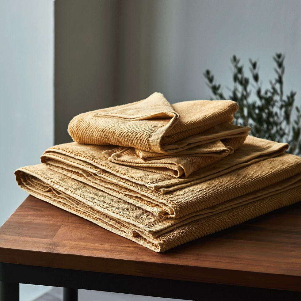 Serviette invité bouclette en coton bio - marron camel 30x50cm-COLINE