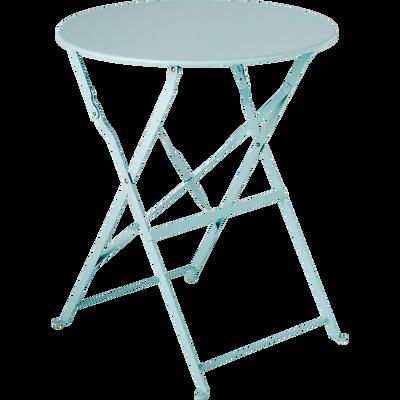 Table de jardin pliante bleue D60cm (2 places)-CERVIONE