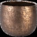 Cache-pot rond en métal bronze D17cm-Capeno