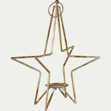 Bougeoir étoile or H40,5cm-ABDON