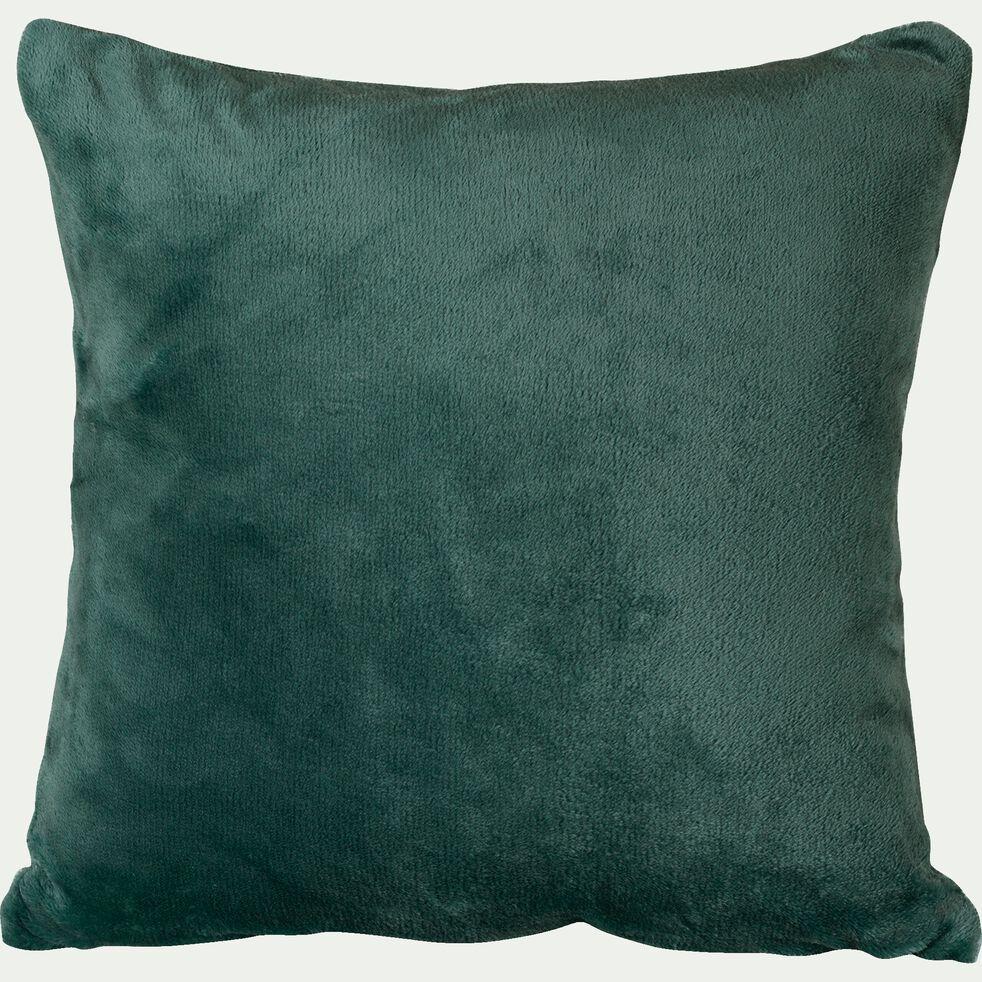 Housse de coussin effet doux - vert cèdre 40x40cm-ROBIN