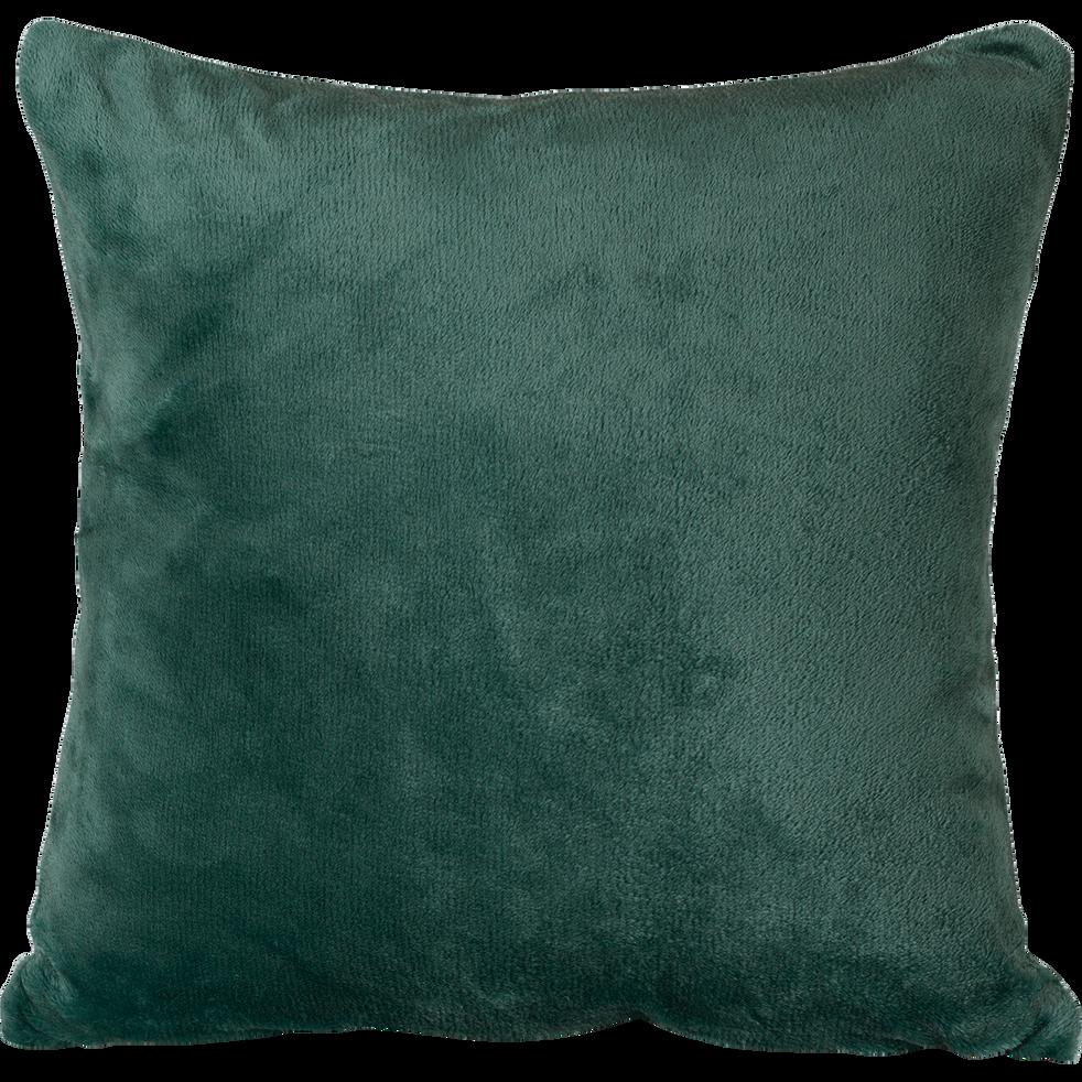 Housse de coussin effet doux vert cèdre 40x40cm-ROBIN