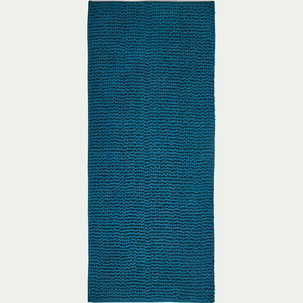 Tapis de bain rectangulaire antidérapant - l50xL120cm bleu niolon-Picus