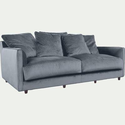 Canapé 3 places fixe en velours gris restanque-LENITA