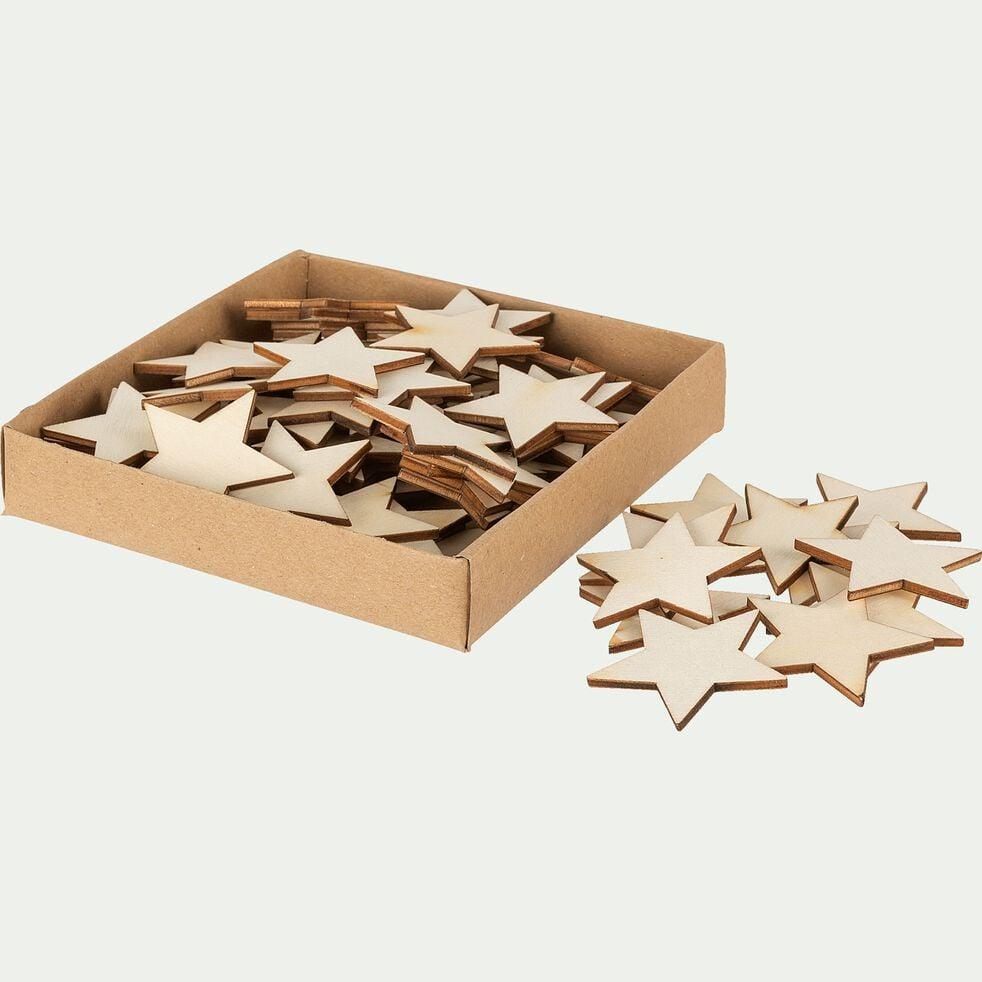 Boite de 20 étoiles décos en bois de peuplier - D12xP2,5cm naturel-DOMS