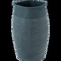 Panier à linge en coton bleu D35xH65cm-Vincent