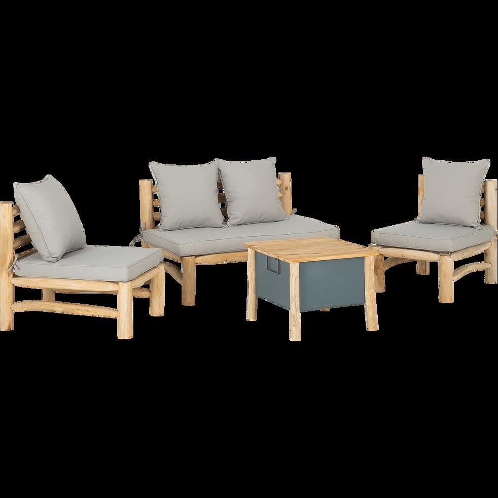 Salon de jardin en teck (4 places)-TILLA