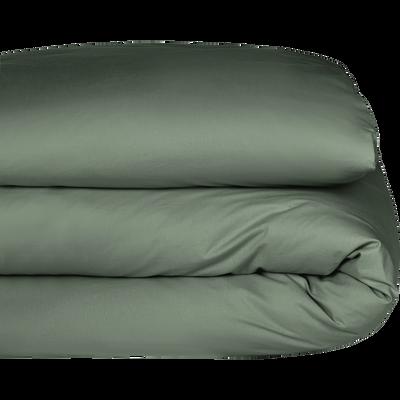 Housse de couette en coton Vert cèdre 140x200cm-CALANQUES