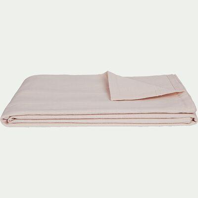 Plaid tissé en coton rose grège 230x250cm-BELCODENE