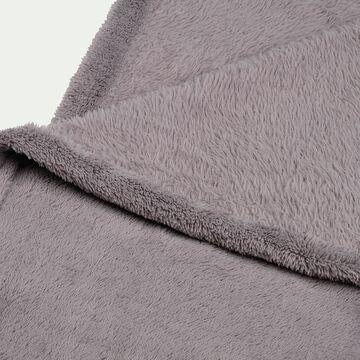 Couvre lit effet polaire- gris restanque 180x220cm-ROBIN