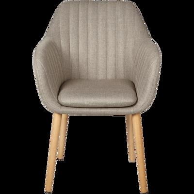 Chaise capitonnée en tissu beige nèfle avec accoudoirs-SHELL