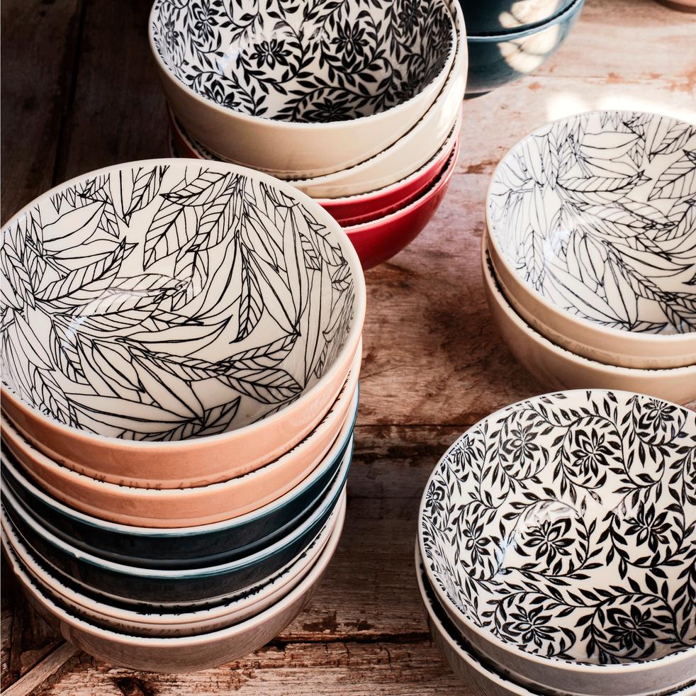 Coupelle en porcelaine rouge sumac motifs laurier D11cm-AIX