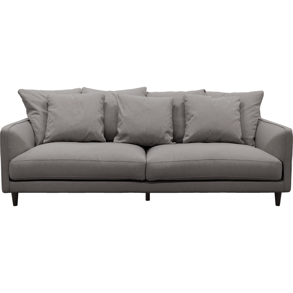 Canapé 4 places fixe en tissu gris borie-LENITA