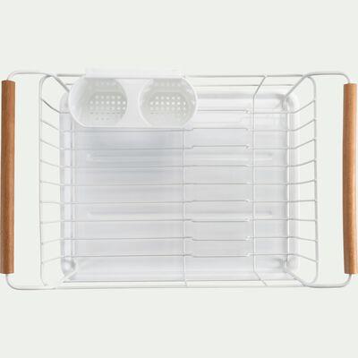Égouttoir rectangulaire 38x26xH18cm fer et hêtre blanc-ESCU