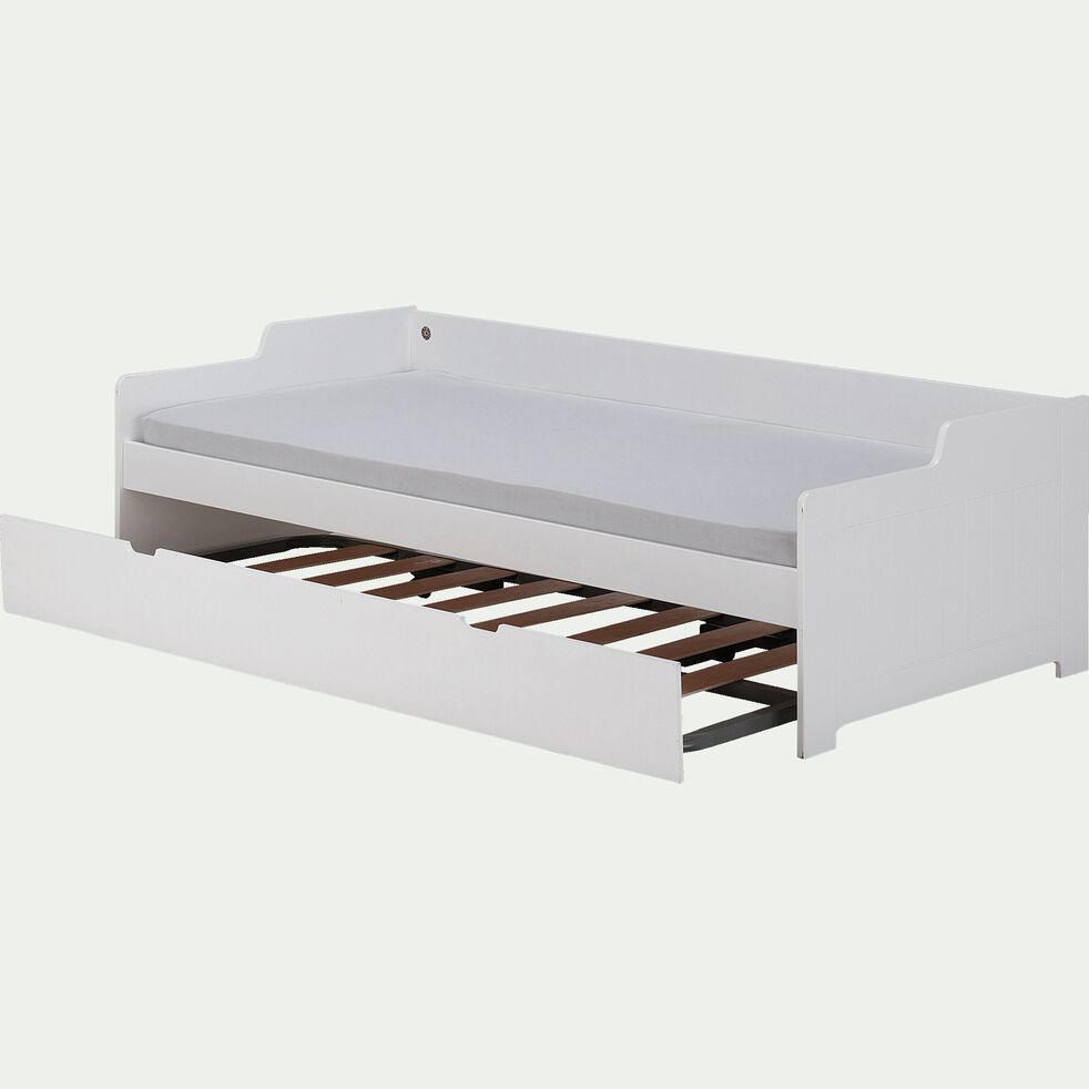 Tiroir de lit en bois pour lit gigogne 90x200cm - blanc-POLLUX