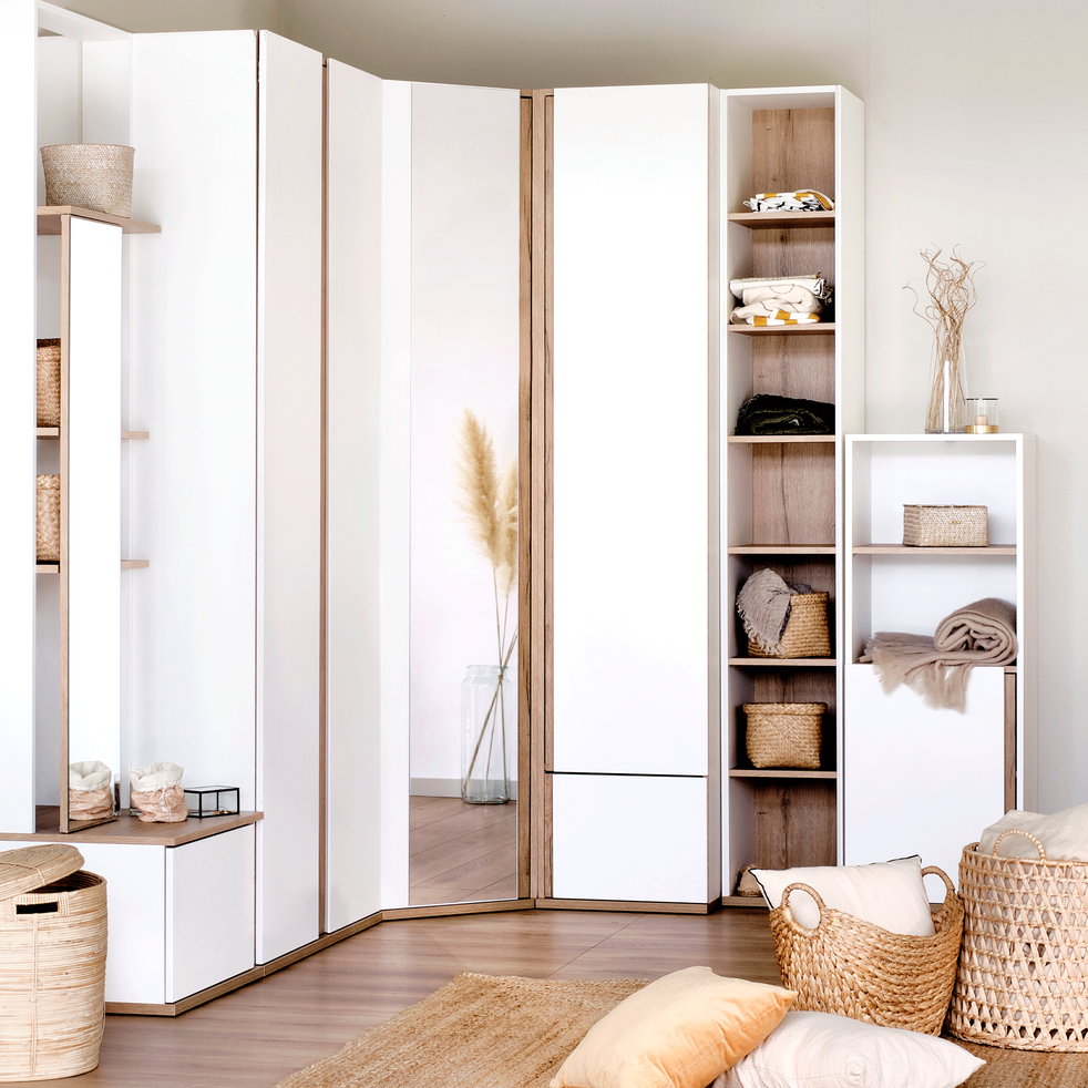 Armoire dressing d'angle avec 1 porte effet chêne - blanc - NESTOR - armoires - alinea