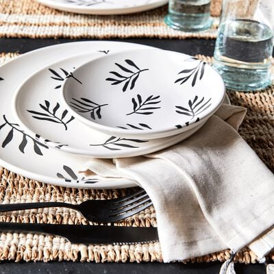 Coupelle en faïence - blanc motif Aloyse D15,5cm-ALOYSE