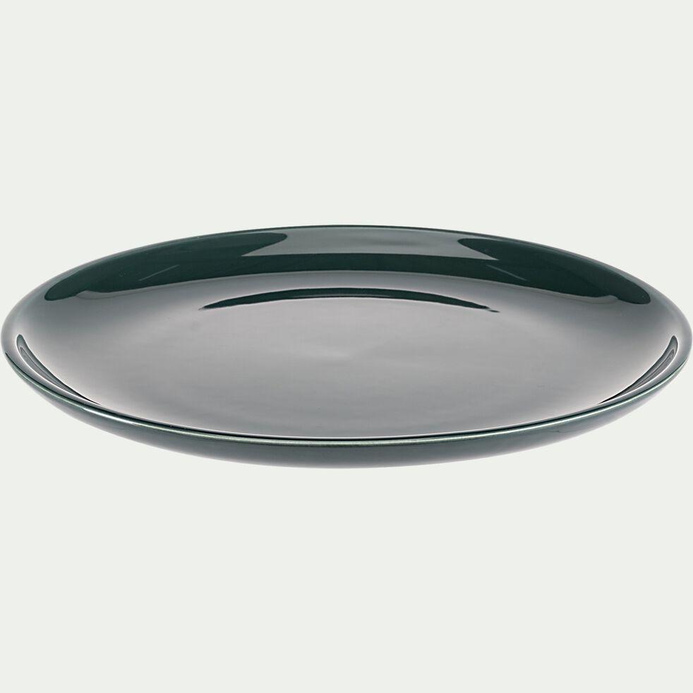 Assiette plate en faïence - vert olivier D27cm-JANGAL