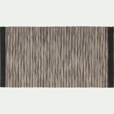 Tapis en coton noir et blanc - 60x120 cm-ORGON