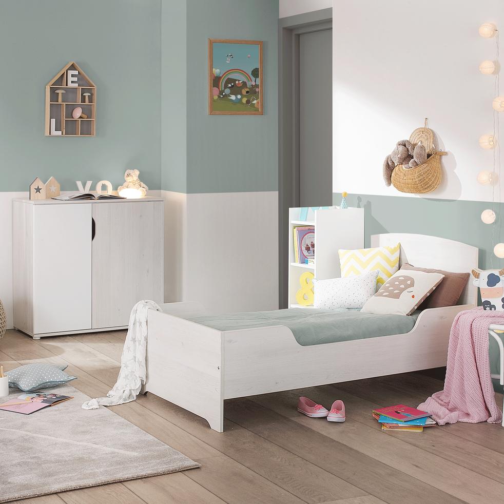 commode 2 portes cerisier blanchi brooklyn commodes enfant alinea. Black Bedroom Furniture Sets. Home Design Ideas