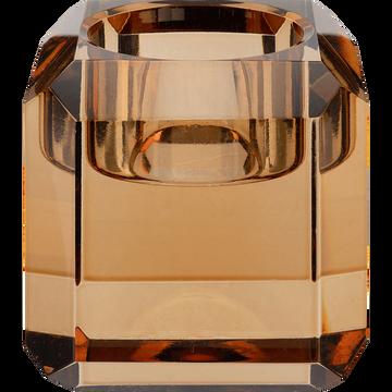 Bougeoir en verre ambré D6xH6cm-ANTONIN