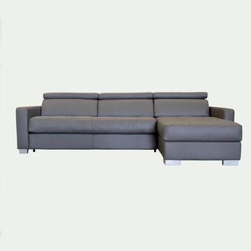 Canapé 4 places convertible en cuir avec angle reversible et accoudoir 15cm - taupe-MAURO
