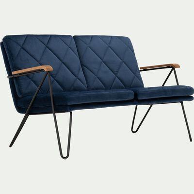 Canapé fixe 2 places en velours bleu myrte-CADUN