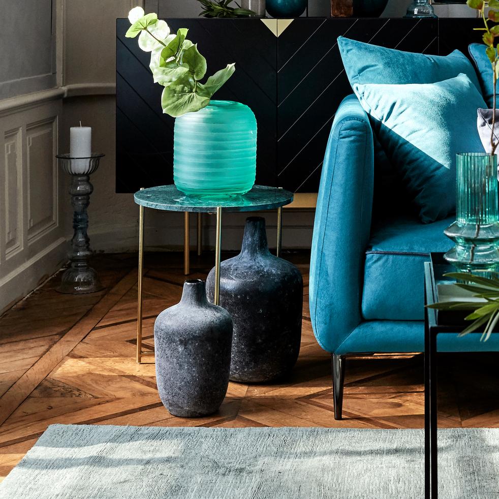 bout de canap rond en marbre vert et pieds laiton anse. Black Bedroom Furniture Sets. Home Design Ideas