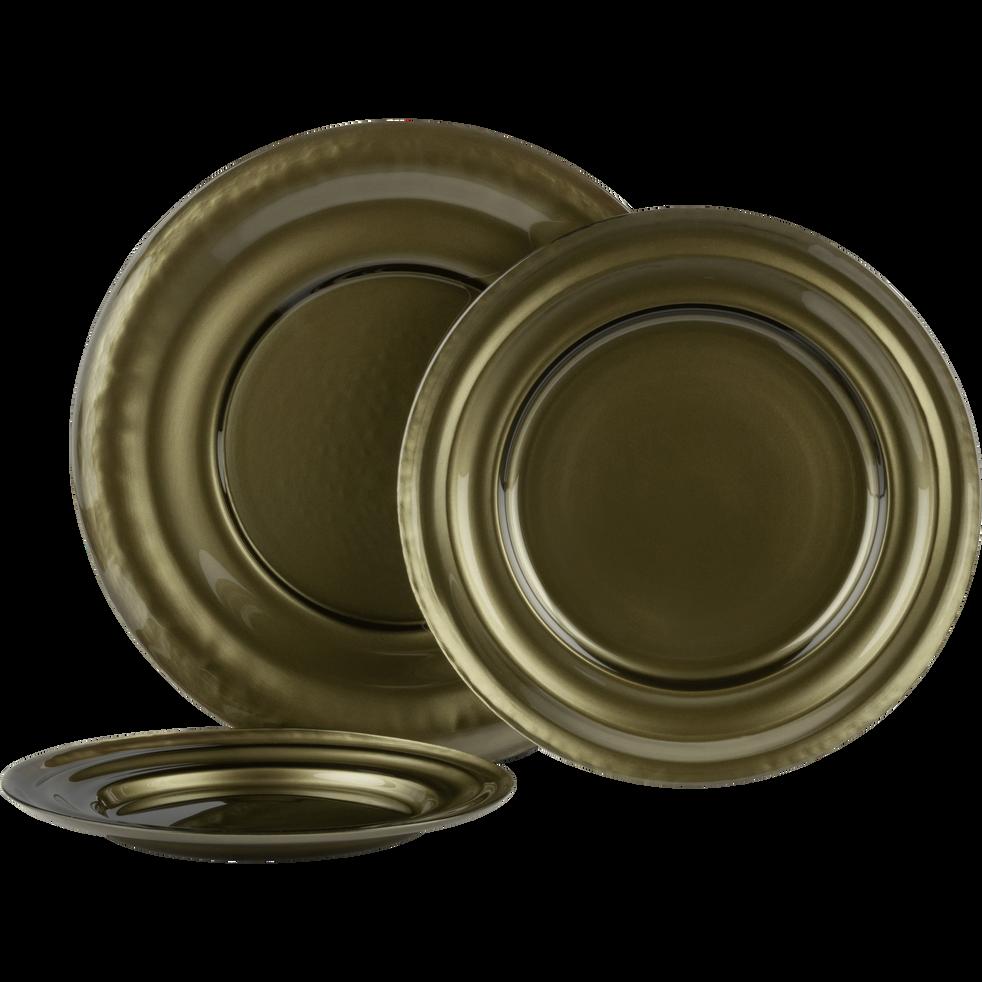Assiette plate en verre vert D27,5cm-LISA