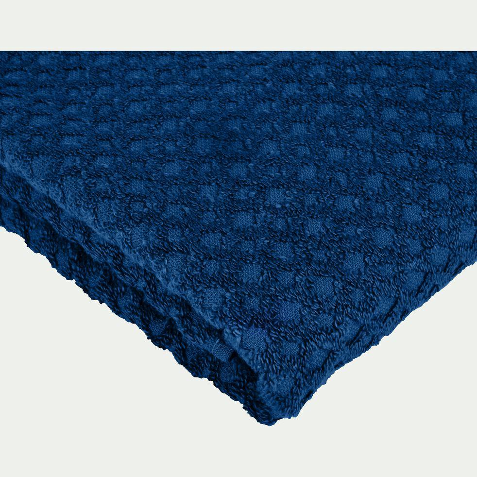 Drap de douche motif bouclette en coton - bleu figuerolles 70x140cm-ETEL