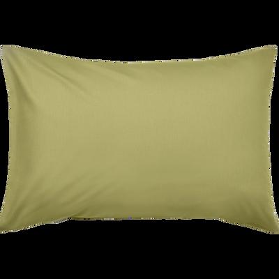 Taie d'oreiller en coton lavé vert guarrigue 45x65 cm-CALANQUES