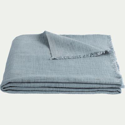 Plaid effet grené en coton - bleu 130x170cm-CALANQUES