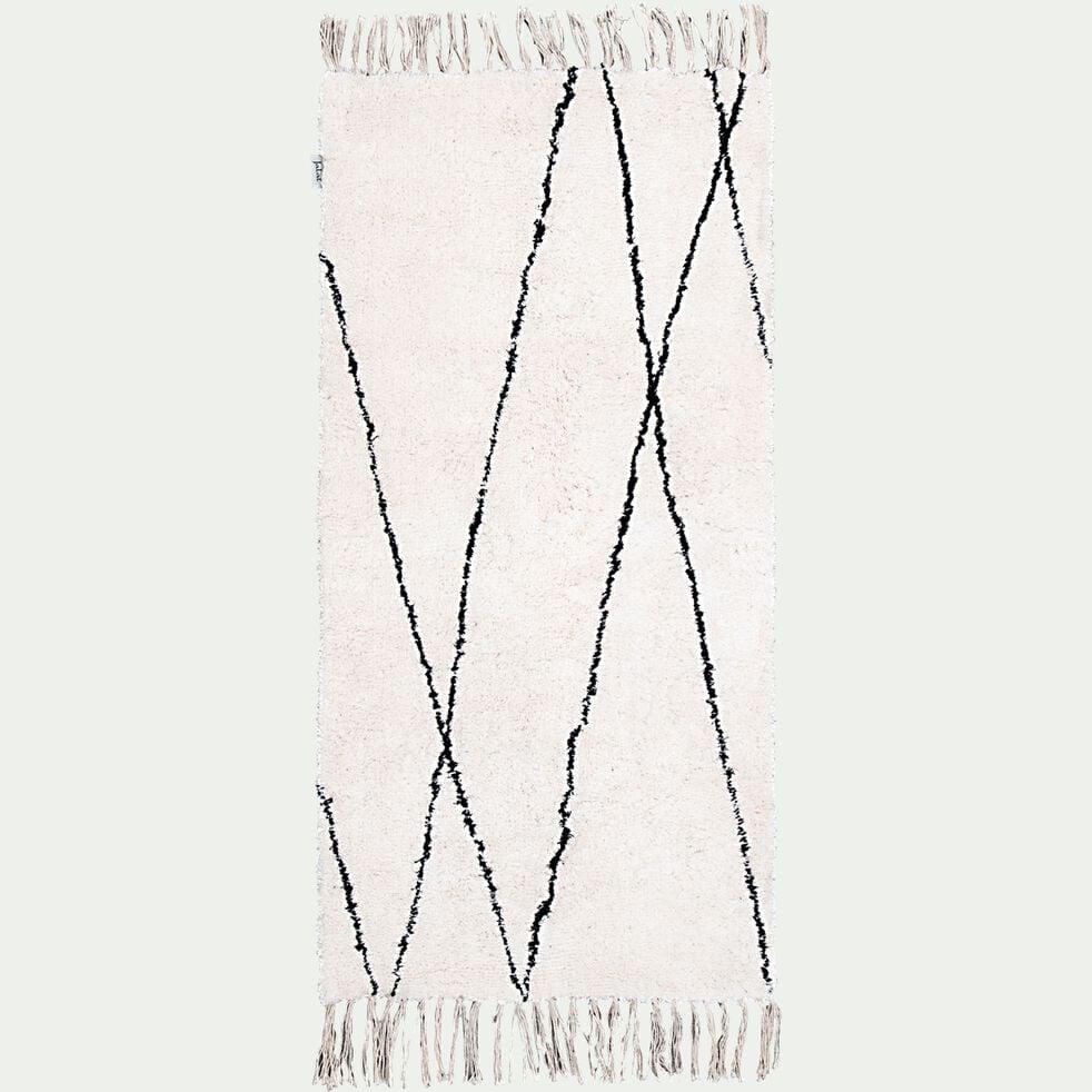 Tapis à motifs géométriques en coton - blanc et noir 60x120cm-BENISSE