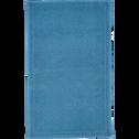 Tapis de bain en coton 60x100cm piquage en losanges bleu figuerolles-SADOU