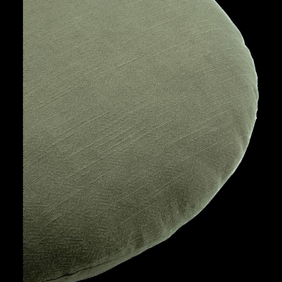 Coussin rond en ramie vert olivier D40cm-RAMY