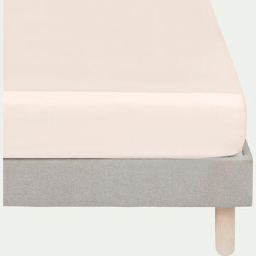 Drap housse rayé en satin - rose grège 160x200cm B25cm-SANTIS