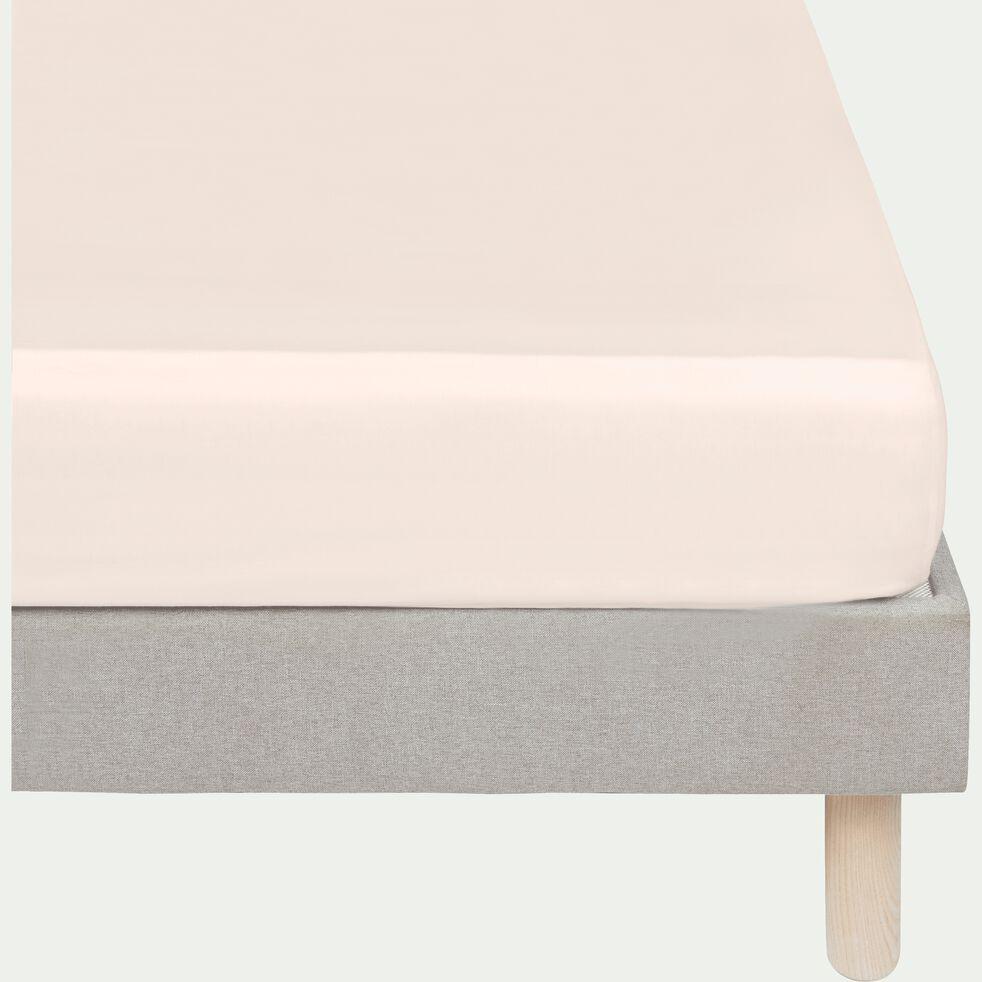 Drap housse rayé en satin de coton - rose grège 160x200cm B25cm-SANTIS
