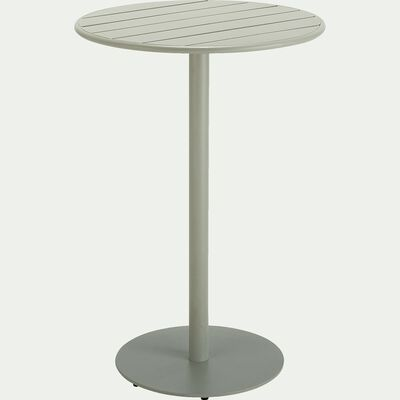 Table haute ronde en aluminium - vert olivier (4 places)-DOUNA