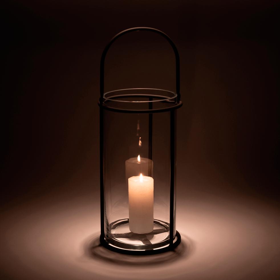 Lanterne en métal gris anthracite H60xD23cm-Moustelle