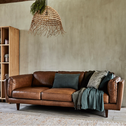 Canapé 3 places fixe en cuir de vachette marron-Brooklyn