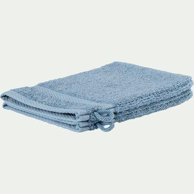 Lot de 2 gants de toilette en coton peigné - bleu autan-Azur