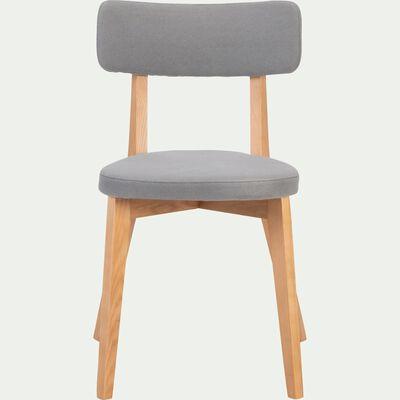 Chaise en tissu gris restanque avec structure bois clair-AMEDEE