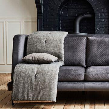 Édredon en coton chambray - gris 100x180cm-CORBIN