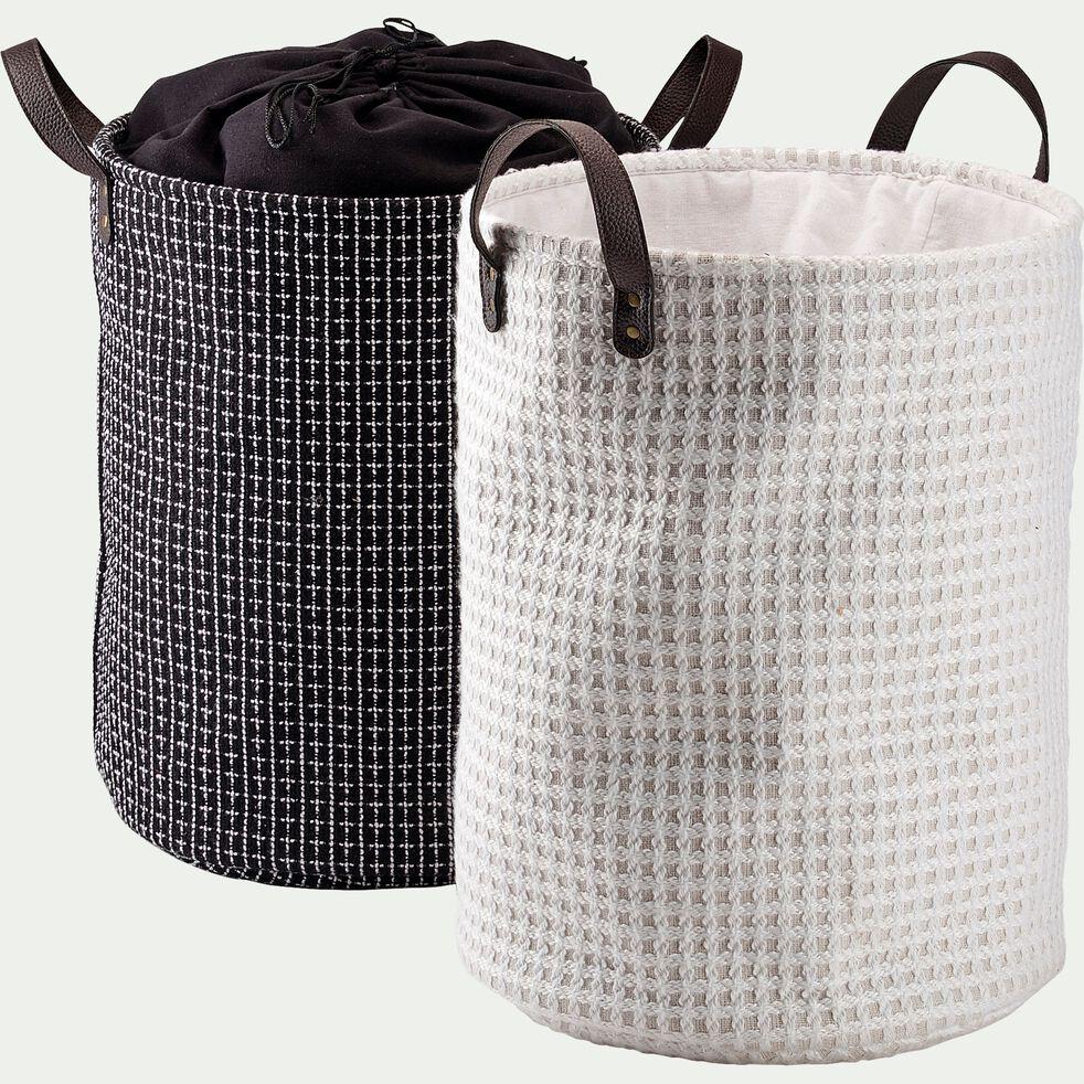 Panier à linge en tissu - blanc H50xD38cm-TANGUY