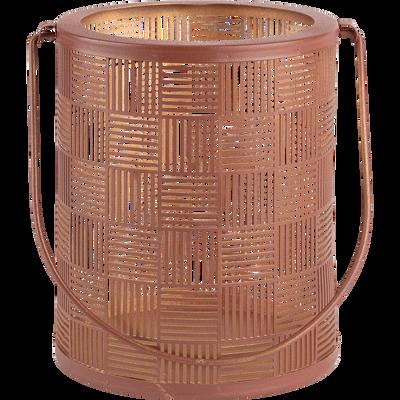 Lanterne en métal rouille H15cm-AUXANE