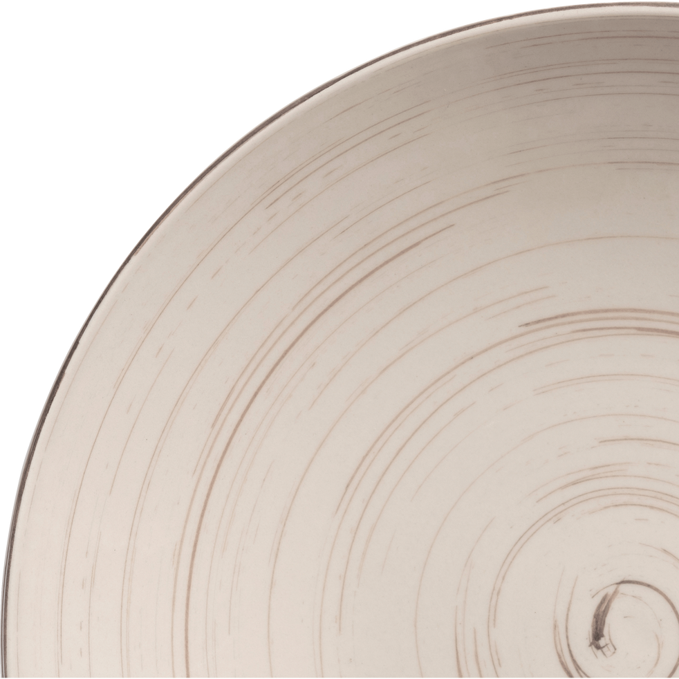 Assiette creuse en faïence blanche effet patiné D21cm-GASTON