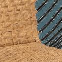 Fauteuil noir et rotin naturel-BALIN