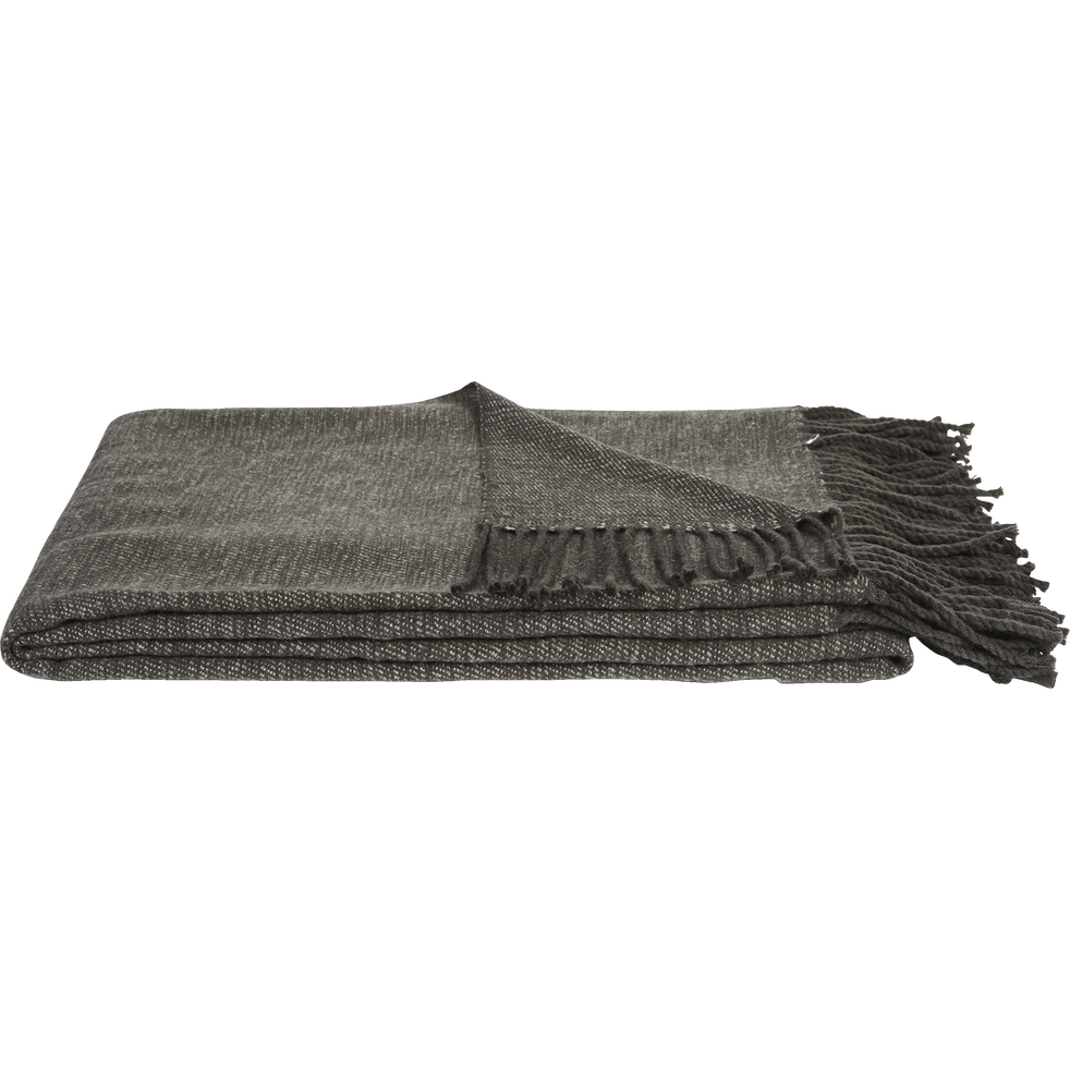 Plaid acrylique frangé gris anthracite 130x170cm-HONORE
